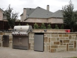 stone grill by pool